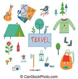 icônes, voyage, mettez stylique, rigolote, tourisme