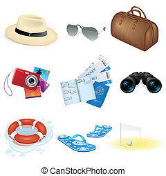 icônes, voyage, vacances, vecteur