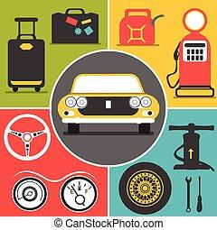 icônes voyage, voiture
