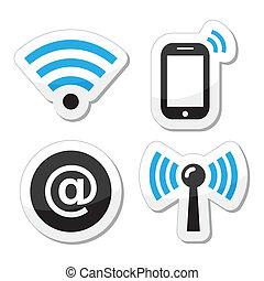 icônes, wifi, internet, réseau, zone