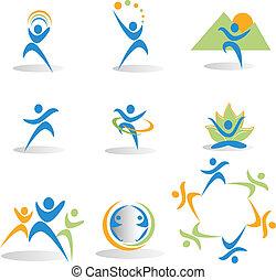 icônes, yoga, nature, social, santé