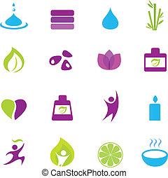 icônes, zen, wellness, eau