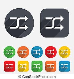 icon., aléatoire, battage, symbole., signe
