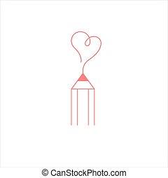icon., blogger, logo, signe., coeur, crayon, écriture, courses.
