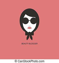 icon., blogger, mode, jeune fille, lunettes soleil
