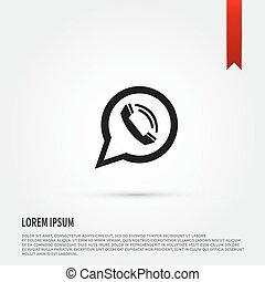icon., bubble., téléphonez icône, appeler, plat, parole, de