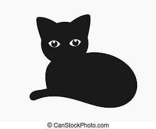 icon., chat, noir