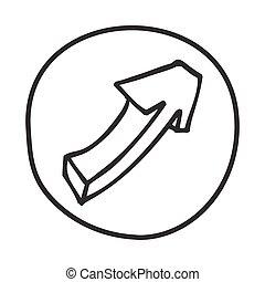 icon., flèche, griffonnage