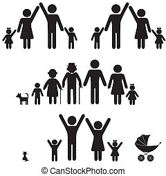 icon., gens, silhouette, famille