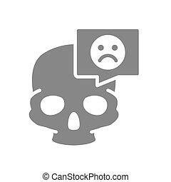 icon., gris, crâne, tête, structure, os, figure, bulle, triste, parole, symbole, crâne