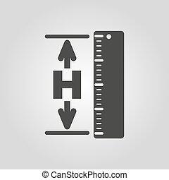 icon., hgt, hauteur, niveau, élévation, altitude, symbole., plat
