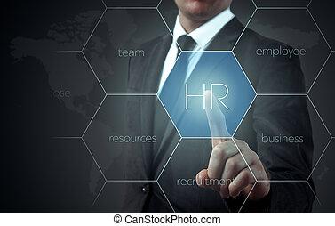 icon-hr, choisi, recrutement, points, concept, homme affaires