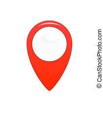 icon., indicateur, emplacement, gps, symbole., carte