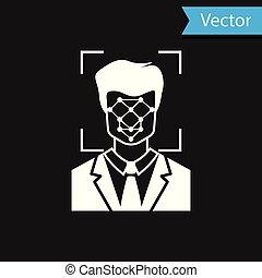 icon., scanner, concept., isolé, cyber, figure, id., arrière-plan., vecteur, noir, illustration, facial, identification, sécurité, blanc, reconnaissance, icône