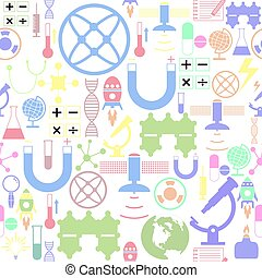 icon., science, fond, seamless, modèle