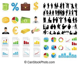 icon., silhouettes, vecteur, hommes affaires, illustration