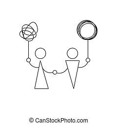 icon., solution, thérapie, symbole, entraîneur, problème