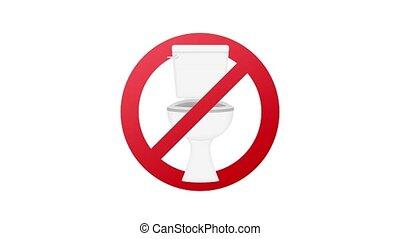 icon., toilette, non, avertissement, graphiques mouvement, signe.