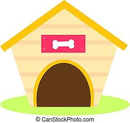 icon., vecteur, agrafe, isolé, art, maison chien