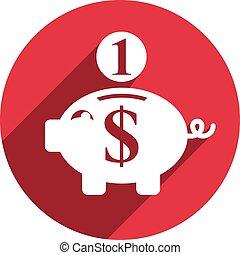 icon., vecteur, banque, porcin, argent