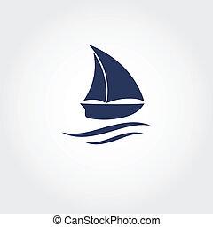 icon., vecteur, bateau, illustration