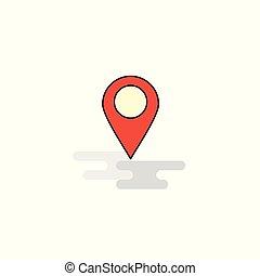 icon., vecteur, plat, emplacement