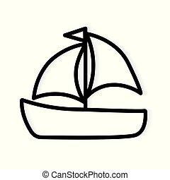 icon-, vecteur, yacht, bateau, illustration