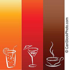 icons;, boisson, conception, gabarit
