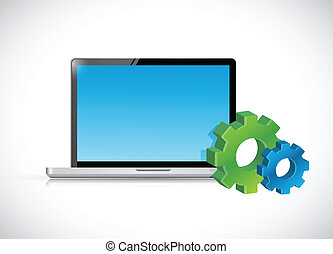icons., ordinateur portatif, engrenage, illustration