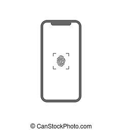 icon.vector, illustration., scanner, smartphone, empreinte doigt