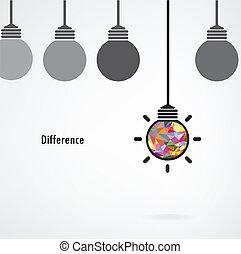 idée, concept., vecteur, fond, signe, ampoule, créatif, affaires légères, différence, education, illustration