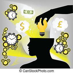 idée, main, cerveau, mettre, humain, ampoule