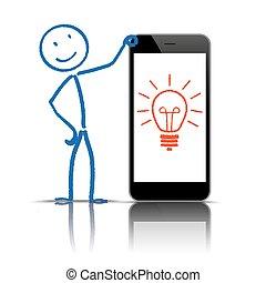 idée, stickman, smartphone, ampoule
