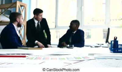 idées, affaires gens, documentation., debating., discuter, trois, foyer