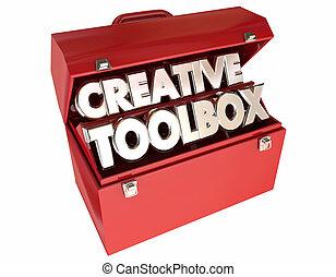 idées, créatif, imagination, mots, boîte outils, 3d, inspiration