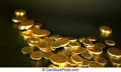 idées, finance, noir, reussite, richesse, pièces, doré, investissement, arrière-plan., monetization, business, concept, banque