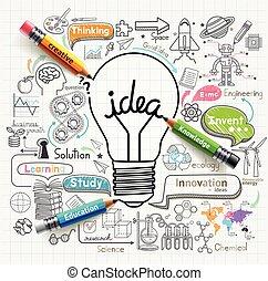 idées, lightbulb, doodles, icônes, set., concept