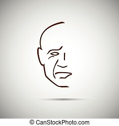 identification, facial, figure, vecteur, lignes, illustration., balayage, biometric