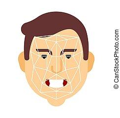 identification., humain, personnalité, vecteur, face., illustration, reconnaissance