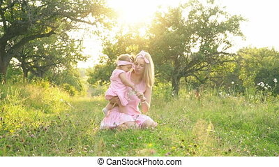 identique, fille, robes, maman