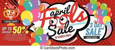 idiot, avril, bannière, vente