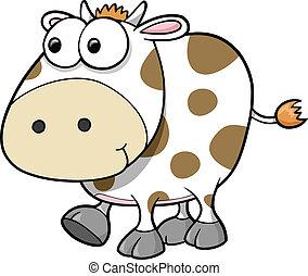 idiot, vecteur, vache, animal
