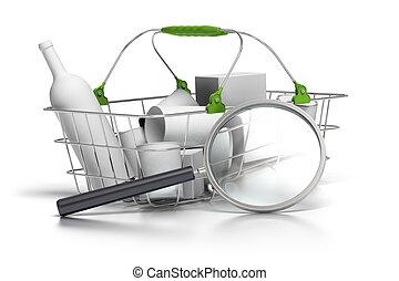 il, concept, panier, consommation, moyenne, loupe, devant, analyste