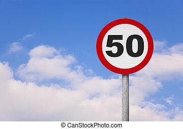 il, roadsign, 50, rond, nombre