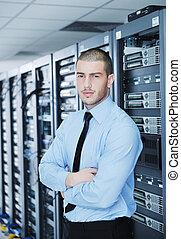 il, salle, ingénieur, datacenter, serveur, jeune