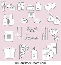 il, souligner, beauté, ensemble, convenu, backgrounds., puits, couvertures, nails., icons.