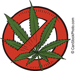 illégal, croquis, marijuana