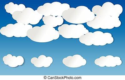 illustré, bleu, nuages, ciel