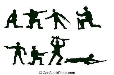 illustré, soldats, armée