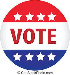 illustré, vote, image, bouton